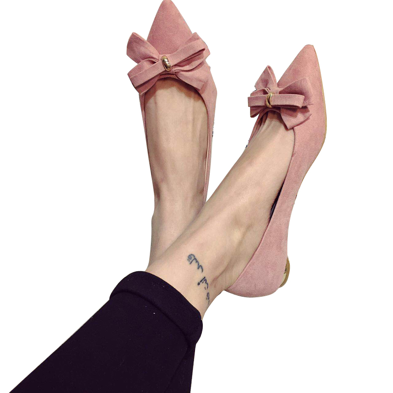 Sweet Women High Quality Bowtie Pointed Toe Flock Flat Shoes Women Casual Summer Ladies Slip-on Casual Zapatos Mujer BT123 spring summer women leather flat shoes 2017 sweet bowtie flats women shoes pointed toe slip on ladies shoes low heel shoes pink