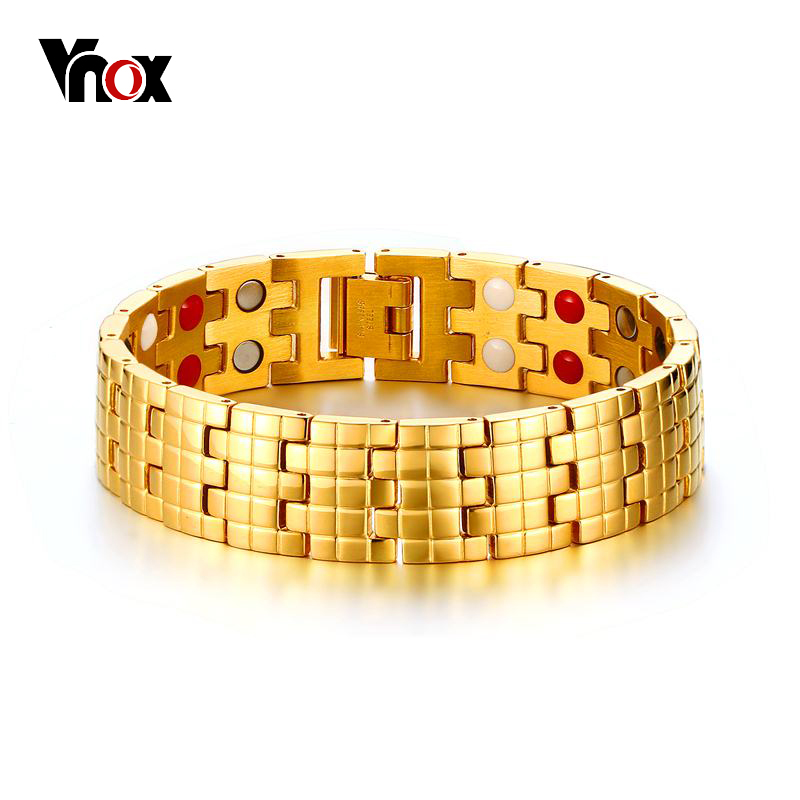 Vnox Magnetic Health Care Bracelet Bangle Gold-color Men's Chain Jewelry With Magnets