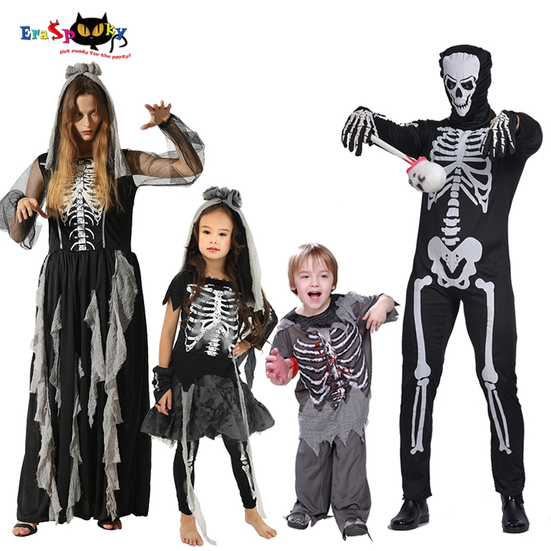 Skeleton Family Halloween Costumes.Horror Skeleton Cosplay Halloween Costumes For Adult Kids Death Skull Ghost Family Matching Outfit Day Of The Dead Fancy Dress