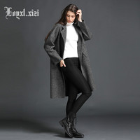 100% Wool European women hand made double sided cashmere long style woolen coat