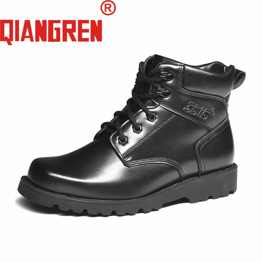 QIANGREN High-grade Quality Military Factory-direct Men's Winter Genuine Leather Wool Snow Boots Outdoors Tactical Boots Militar a low cost factory direct high grade high cycle life lithium polymer battery 801745
