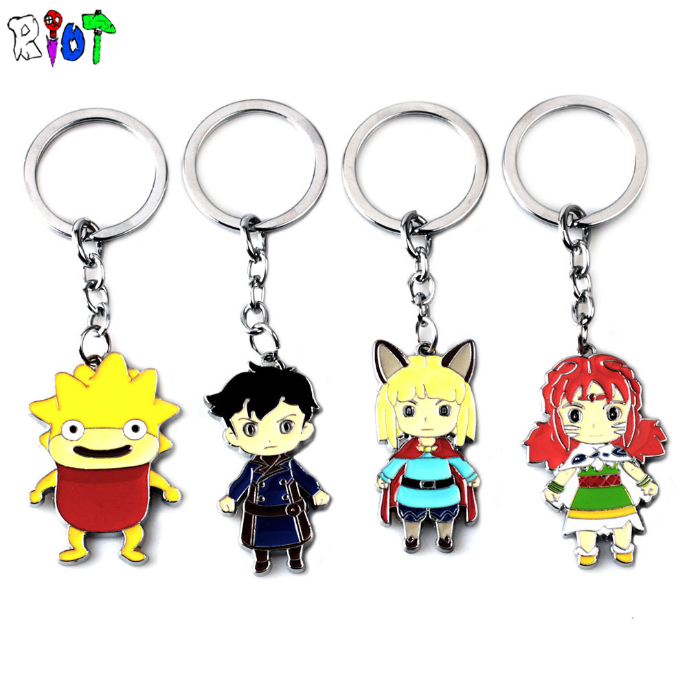 Game Ni no Kuni 2:Revenant Kingdom Keychain Zinc Alloy Colorful Keyring Character Metal Pendant Men jewelry Children Toy Gift