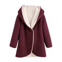 Женская модная Новая женская зимняя куртка с капюшоном из искусственного меха и шерпы три цвета M-XXXL размера плюс