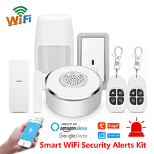 Tuya smart home Security Alarm Kit WiFi gateway Hub Door Window Sensor PIR Detector Automation Home Security System Alexa Google
