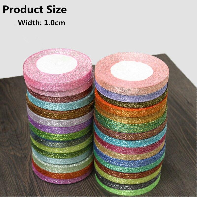 10 мм Ширина Цвет лук ленты швейного искусства ручной работы DIY материалы принадлежности свадебный торт украшения подарок к празднику пакеты 25 двор