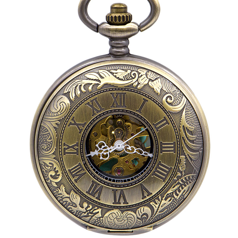 Vintage Retro Copper Flip Hand-wind Mechanical Pocket Watch Victoria Style Roman Dial Chain Clock Necklace PJX1392