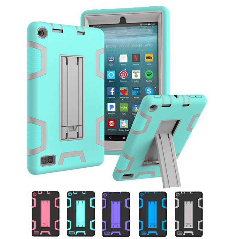 Stand Case Cover For Amazon Kindle Fire 7 2017 7.0 Inch Shockproof Heavy Duty Silicon Case Protective Full Body Back Cover Funda hot sale fashion kids shock proof case cover for amazon kindle fire hd 7 2015 rugged shockproof case just for you