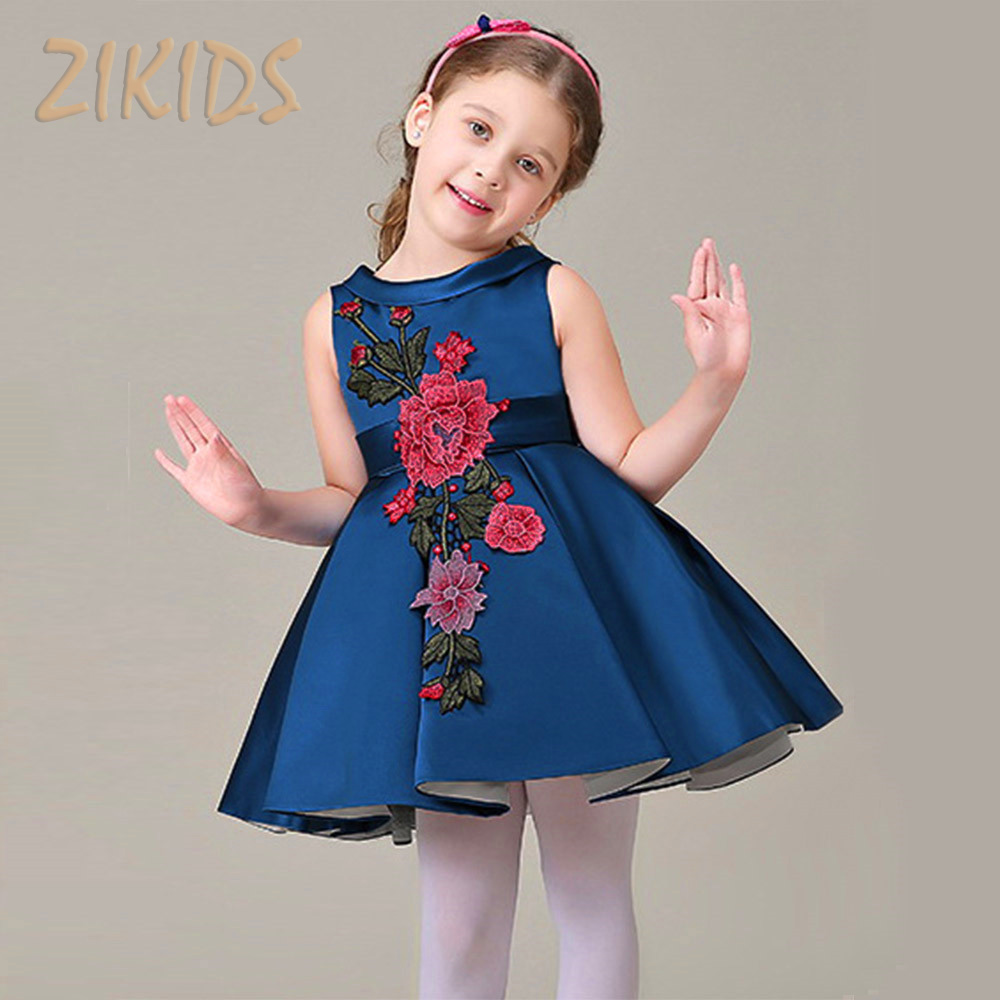 Girl Dress Party Summer Style Dresses Casual Sleeveless Blue Flowers Embroidery Children Brand Kids Clothes 2016