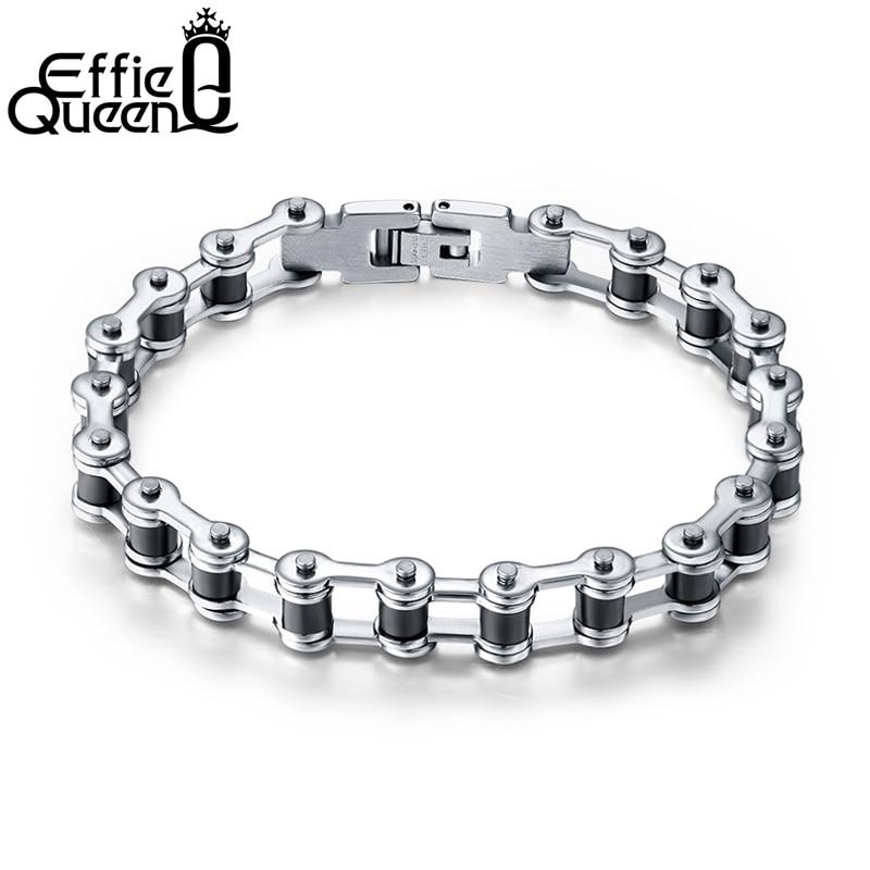 Effie queen hombres de calidad superior del motor de la cadena de la motocicleta pulsera de cadena brazalete de joyería de acero inoxidable con silicona IB29