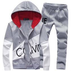 2 piece sets men casual sweatshirt tracksuit male autumn hooded suits sporting outwear full pants trousers 5xl clothes black