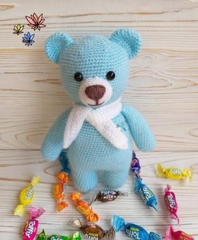 crochet armigurumi  rattle toy bear model  number  8141