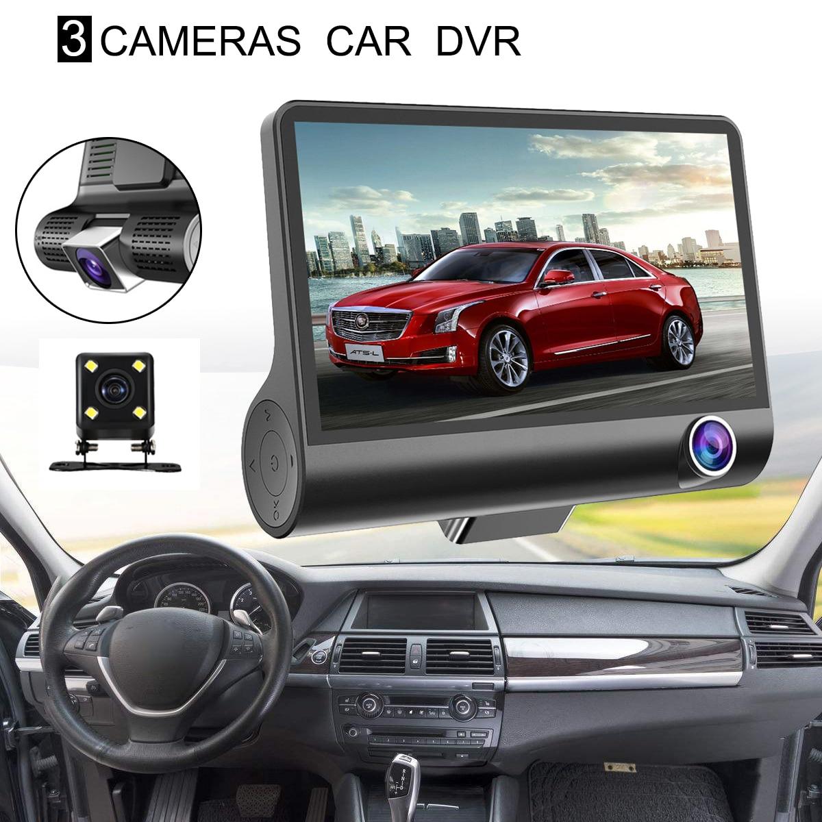 4'' Car Video Camera 1080P Dual Lens Full HD Car DVR Camera 170 Degree Rearview Dashcam G sensor Auto Car Camera Recorder