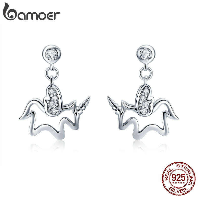 цена BAMOER 100% 925 Sterling Silver Trendy Licorne Memory Simple Line Geometric Stud Earrings For Women Silver Jewelry Making SCE425 в интернет-магазинах