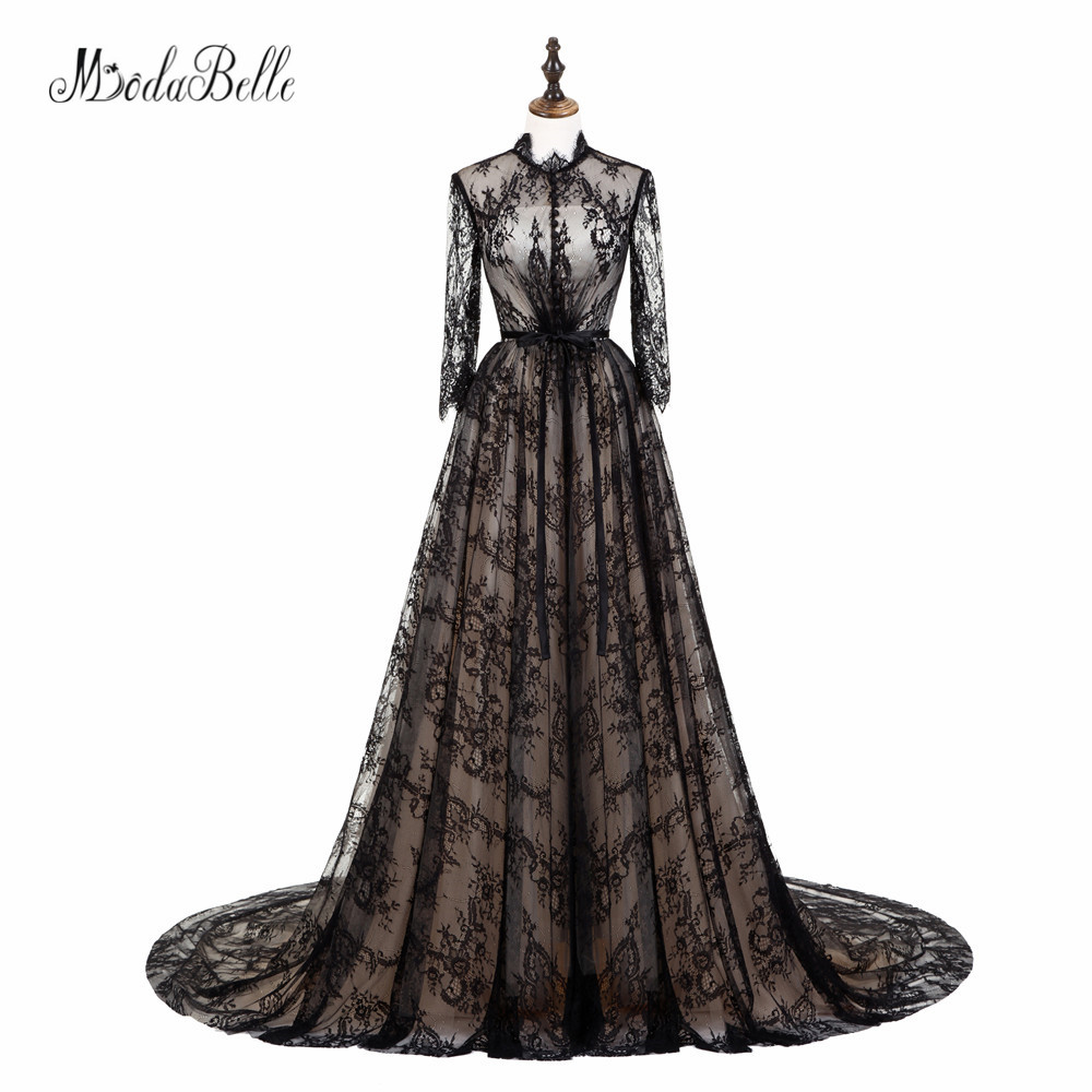 modabelle See Through Lace Evening Dresses High Neck Elegeant Robe Longue Soiree Party Occasion Long Sleeve Black Evening Gowns