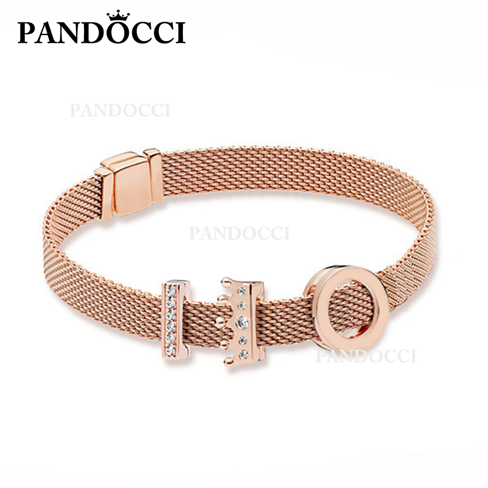 PANDOCCI 100% 925 Sterling Silver  Rose Reflexions Logo Clip Charm Rose Reflexions Crown Clip Timeless Clip Charm  Bracelet SetPANDOCCI 100% 925 Sterling Silver  Rose Reflexions Logo Clip Charm Rose Reflexions Crown Clip Timeless Clip Charm  Bracelet Set