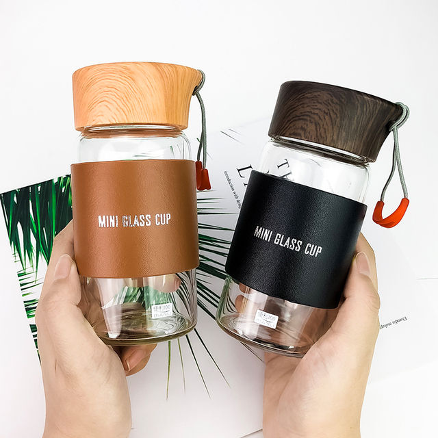 Mini Glass Water Bottles With Hot Drink Sleeve