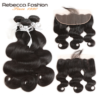 Rebecca Brazilian Body Wave 3 Bundles Human Hair Bundles With Frontal Closure 13x4 Lace Frontal Closure
