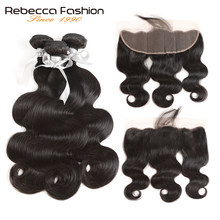 Rebecca Brazilian Body Wave Bundles With Frontal Lace Frontal Closure With Bundles Remy Human Hair 3 Bundles With Frontal(China)