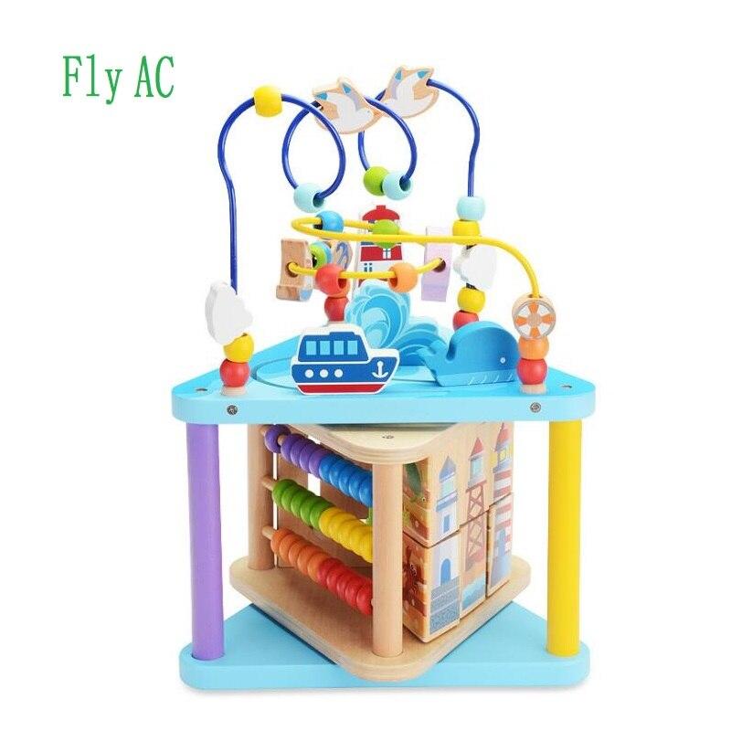 Jouet éducatif polyvalent de labyrinthe de perle de Cube d'activité en bois d'océan pour des cadeaux d'anniversaire d'enfants