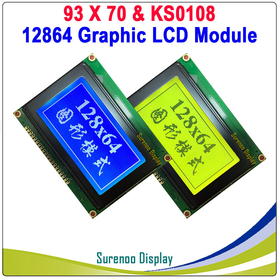 93X70MM Graphic Matrix LCD Module Display Screen 12864 Build-in KS0108 Controller With LED Backlight Yellow Green Blue