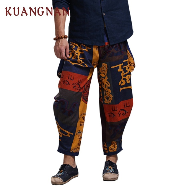 KUANGNAN Jogger Pants Men Cotton Linen Casual Pants Men Streetwear Cross-Pants Men Pantalon Homme One Size Trousers 2018 Summer