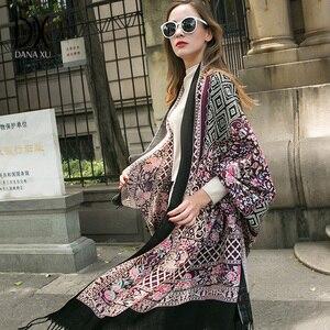 Image 4 - Moda szaliki i szale duży szalik luksusowej marki wełny Wrap muzułmański hidżab Poncho szalik z pledu indie chustka osłona twarzy