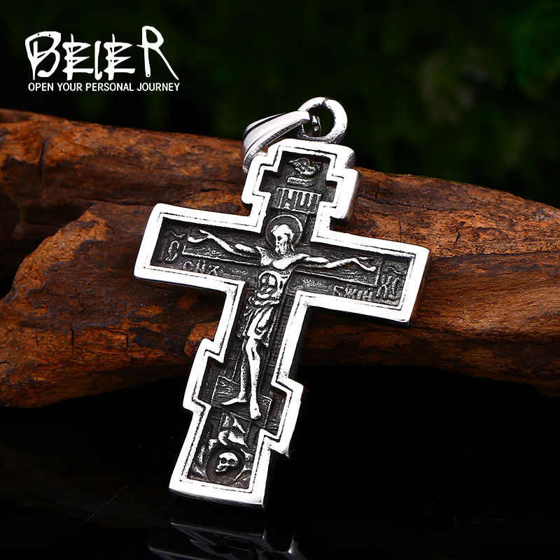 BEIER Christ Jesus Pendant Necklace 316L Stainless Steel Cross Chain Heavy Men Jewelry Gift Religious Christian Jewelry BP8-210