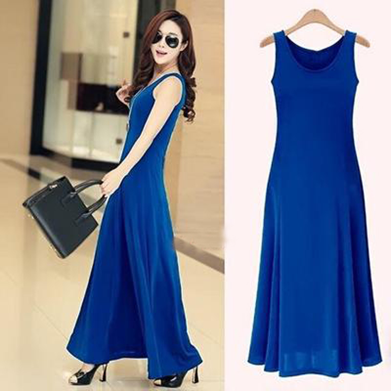 Women Sexy  O-Neck Sleeveless A-Line Long  Dress Girl Brief  Party - Women's Clothing