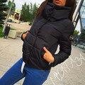 Memória Para Baixo de alta qualidade para baixo casaco de Inverno 2016 Mulheres gola alta jacket Feminino Parka luz Ultra slim outerwear longo casaco