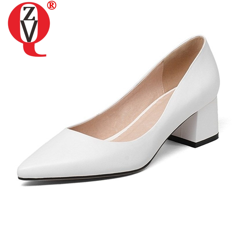 ZVQ slip on shallow comfortable spats convenient basic shoes genuine leather high thick heels pointed toe