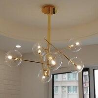 Nordic Modern Chandeliers Living Room Lamps Creative Loft Cafe Bedroom Glass LED Chandelier Golden Beans Ceiling