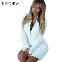 BEFORW Casual Women Sexy Sweater Dress 2017 Autumn Winter Fashion Deep V Neck Warm Ladies Solid