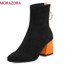 MORAZORA 2019 حجم كبير 34 48 حذاء من الجلد للنساء سستة كعوب عالية على الموضة الأحذية الدافئة الخريف الشتاء bootie فستان