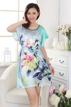 Classy Printed Floral Women Silk Rayon Robe Dress Sexy Short Nightgown Chinese Lady Summer Sleepshirt Bath Gown One Size A148