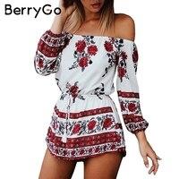 BerryGo Sexy Red Floral Print Elegant Jumpsuit Romper Summer Beach Off Shoulder Short Playsuit Women Chiffon
