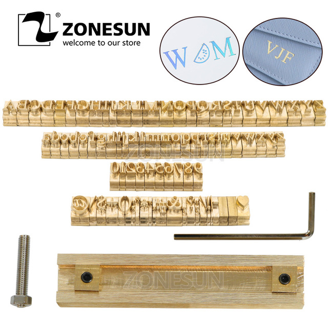 ZONESUN T slot Fixture 52 Alphabet Letters 10 numbers 20 symbol Leather Stamp Craving Tool Brand Iron Machine Mould Die Cut