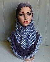 Mu1009 الأزياء مخطط الجملة طبقتين إيتي مسلم الحجاب الإسلامي نمط جديد نمط 12 قطع لكل عشرة 2016 جديد السيدات قبعات