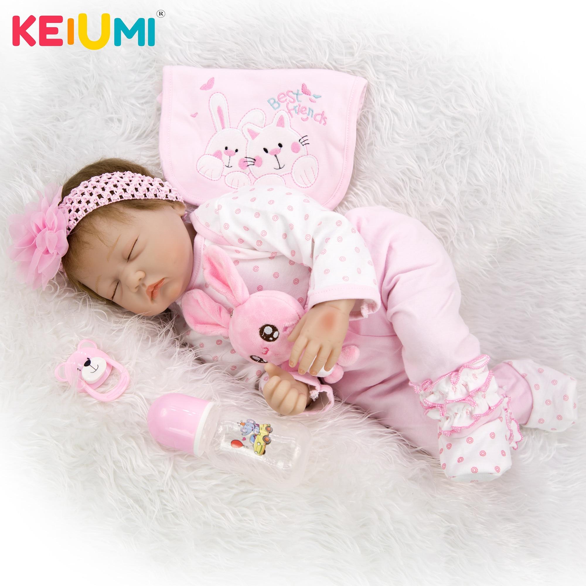 Oyuncaklar ve Hobi Ürünleri'ten Bebekler'de KEIUMI 22 Inç Gerçekçi Uyku Yumuşak Silikon Yeniden Doğmuş Bebek Bebek Çocuk Oyun Arkadaşı Hediye Canlı Yumuşak Oyuncaklar Buketleri Bebek Bebek Reborn oyuncaklar'da  Grup 1