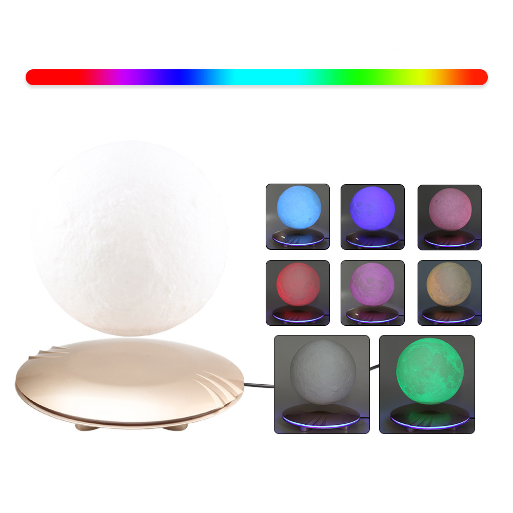 3D Print Moon Lamp Levitating 7 Colors Changing LED Night Light for Home Christmas Decoration Creative Gifts # - 4