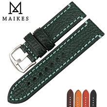 MAIKES Fashion Watch Band For PANERAI Genuine Cow Leather Strap Green 20 22 24 26mm Accessories Watchband