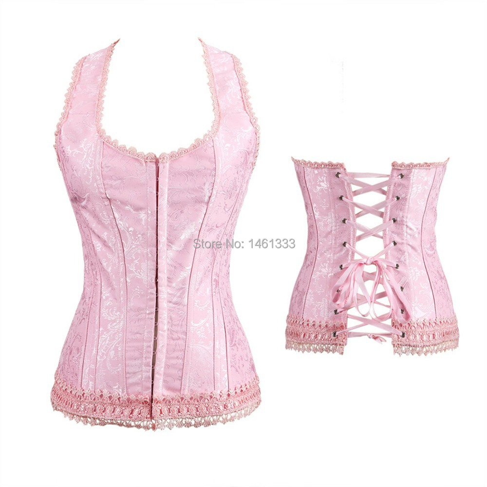Beautiful Women's Pink Corset Top Strap Slimming Outwear Lace Print Corsets Bustier Waist Training Cincher - Miss Sexy Lady store