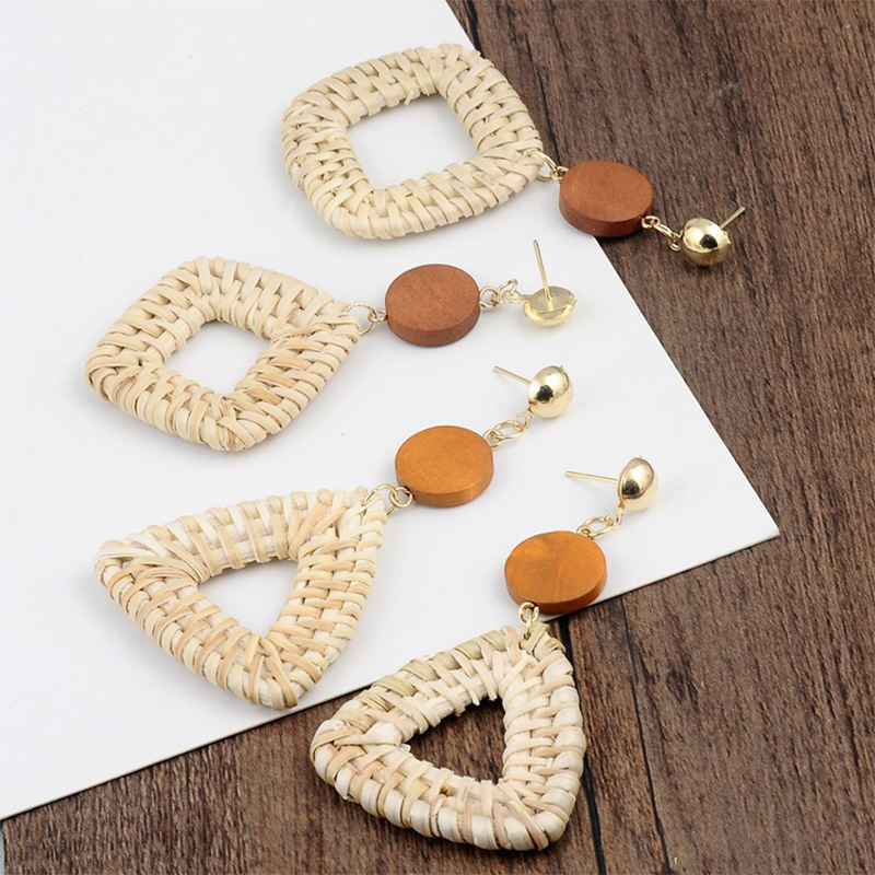 Geometric Wooden Straw Weave Women Beach Bohemian Circle Holiday Dangle Summer Drop Earrings Square Rattan Jewelry Earrings 2