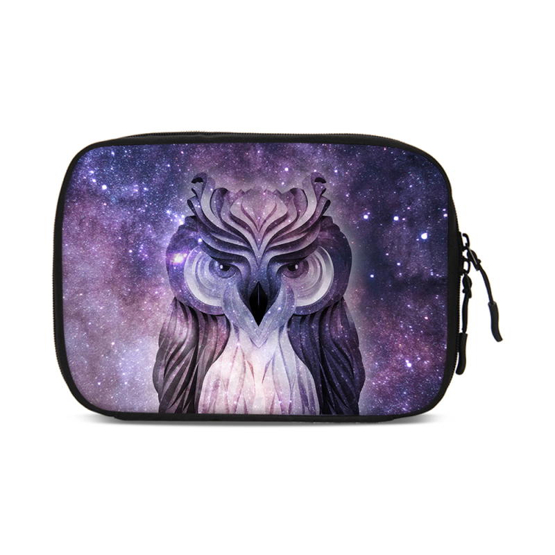 VEEVANV Wolf owl pattern Portable Travel Digital Gadget Storage Bag Electronics Organizer Chargers Cables Mini Protection Pouch
