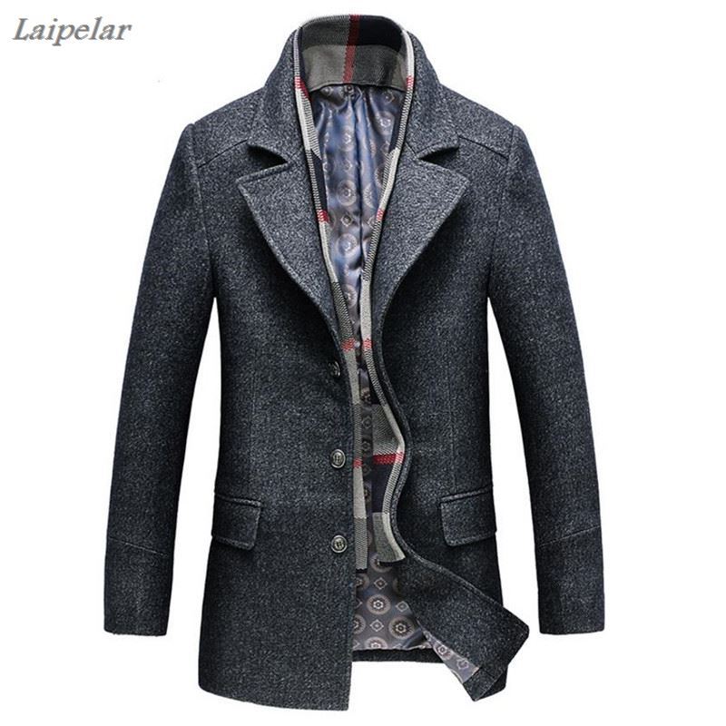 2018 Winter wool jacket mens high-quality coat fashion casual business men trench Scarf collar Overcoat