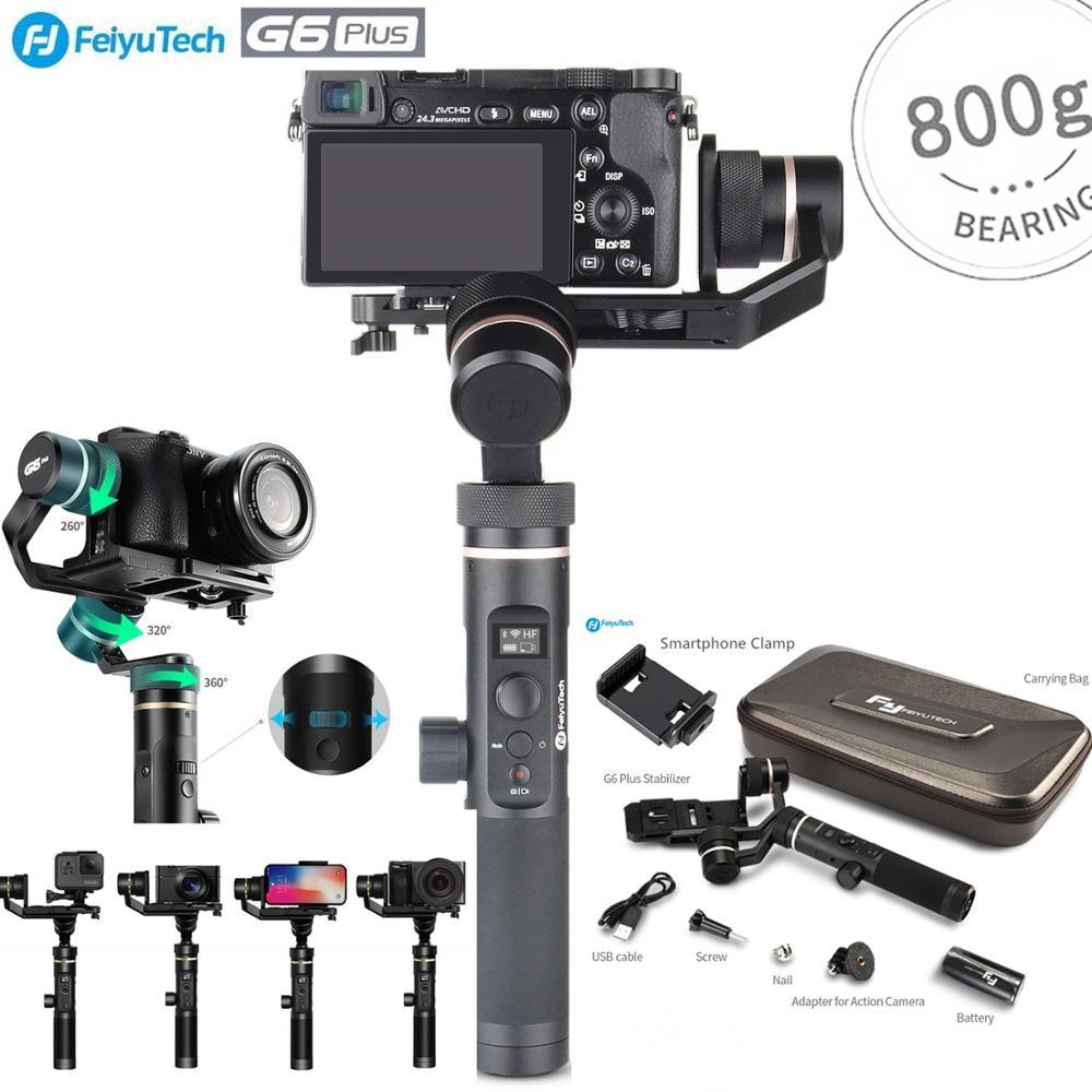 FeiyuTech G6 Plus 3 Splash-Prova de Eixo Cardan Handheld Estabilizador para GoPro Action Camera/telefones/Câmeras Mirrorless /Câmera de bolso