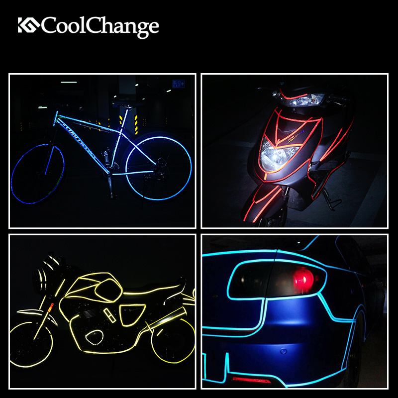 Bicycle Reflective Stickers 1CM*800CM MTB Bike Motorcycle Fluorescent Decal Tape Safety Warning Cycling Accessories