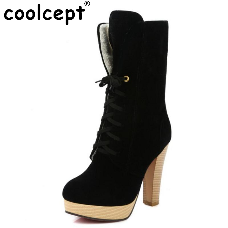 Women Sexy Thick Heel Mid Calf Boots Woman Pointed Toe Lace Up Martin Boot Fashion Brand Autumn Winter Heels Shoes Size 34-45 2017 autumn fashion boots sequins women shoes lady pu leather white boots bling brand martin boots breathable black lace up pink
