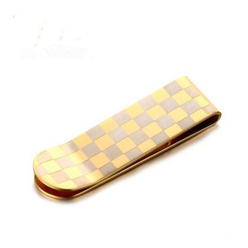 Europe and the United States popular stainless steel plaid wallet titanium gold business men's jewelry MC-027