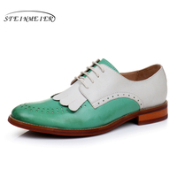 Genuine Leather Woman Size 9 Designer Yinzo Vintage Flat Shoes Round Toe Handmade Red Yellow Green