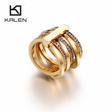 683387169e525b KALEN nowy cyrkonia pierścionki dla kobiet rozmiar 6-9 bułgaria złoty/srebrny  sześć warstw pierścienie Femme obrączki ślubne